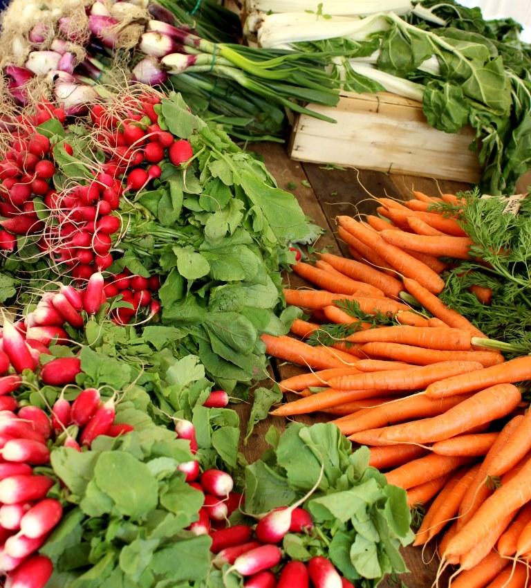 Légumes de saison du printemps sur un étal de marché