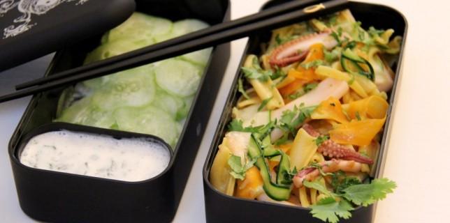 Bento de pates au safran légumes et seiche
