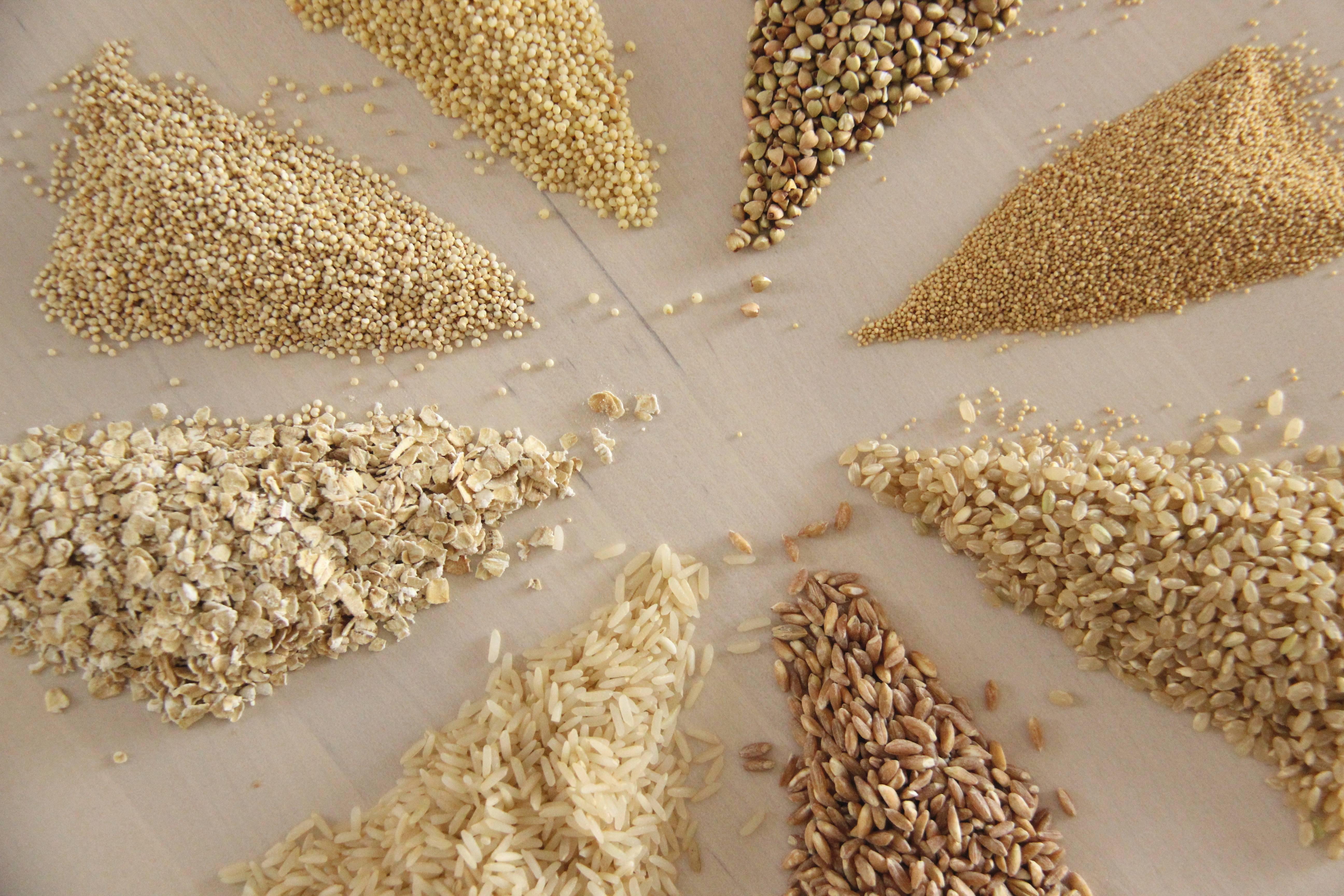 céréales complètes variées avec et sans gluten