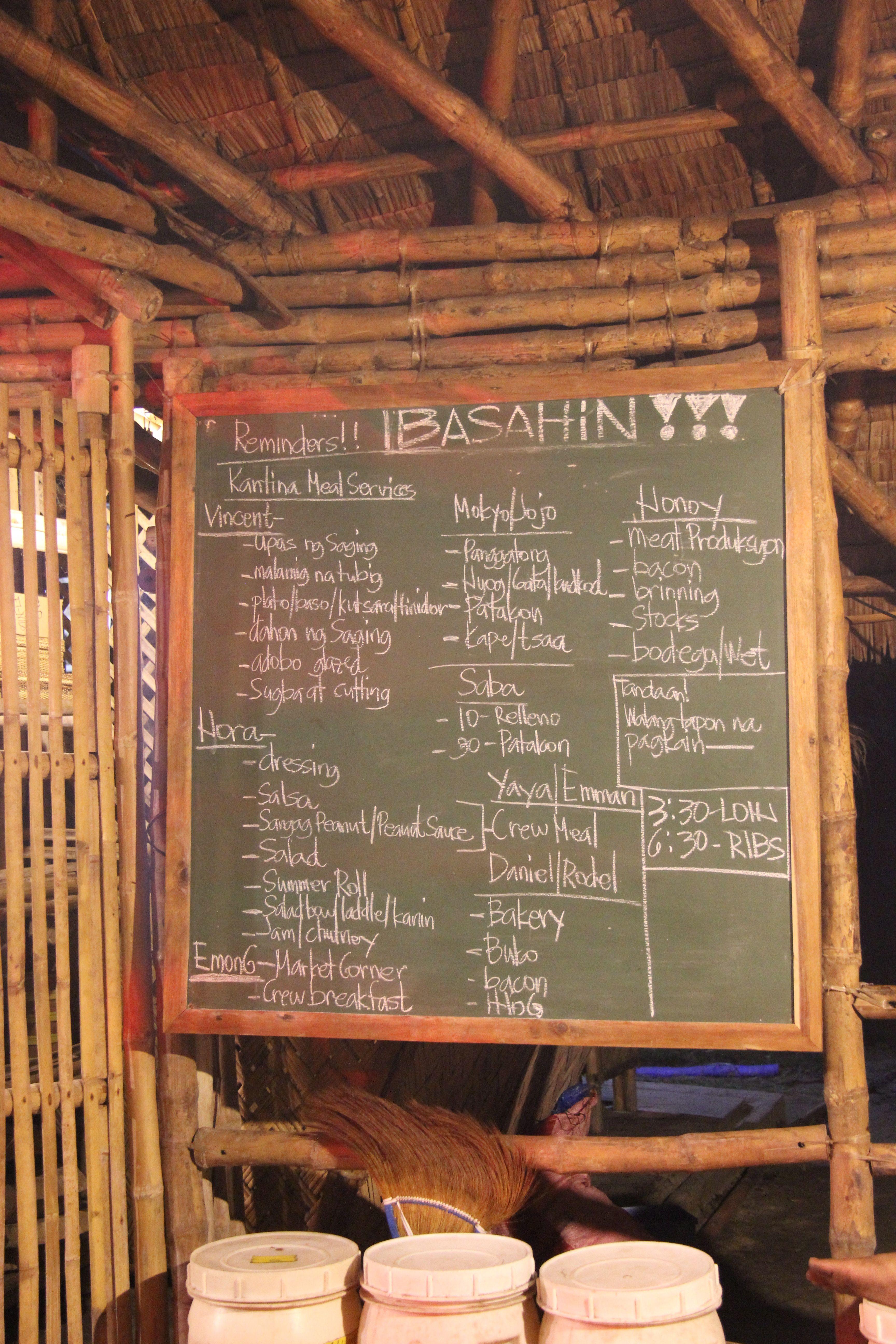 Planning des tâches en cuisine - Kantina Tao farm