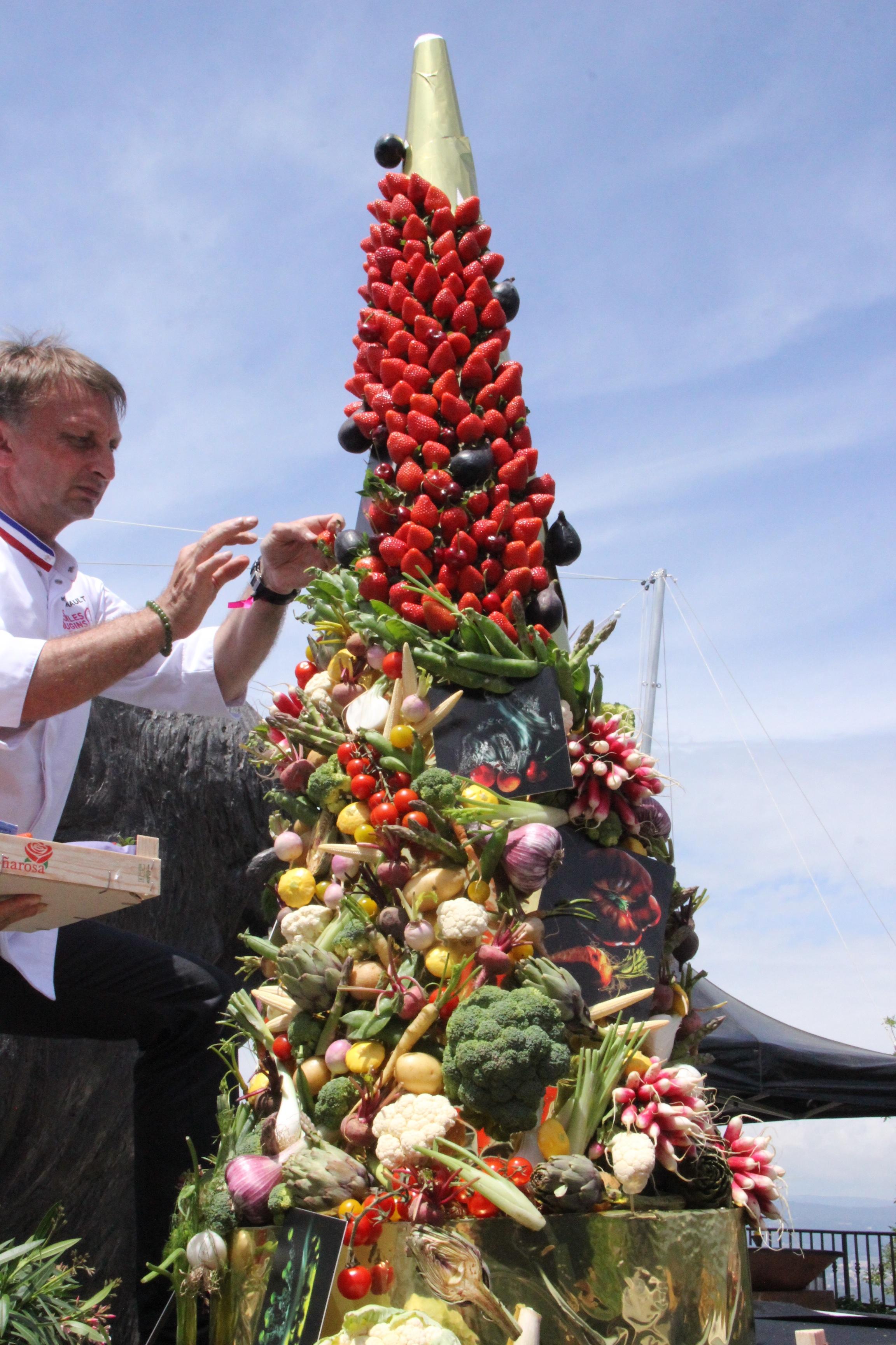 Sculpture de fruits et légumes par Frédéric Jaunault, chef Primeur MOF