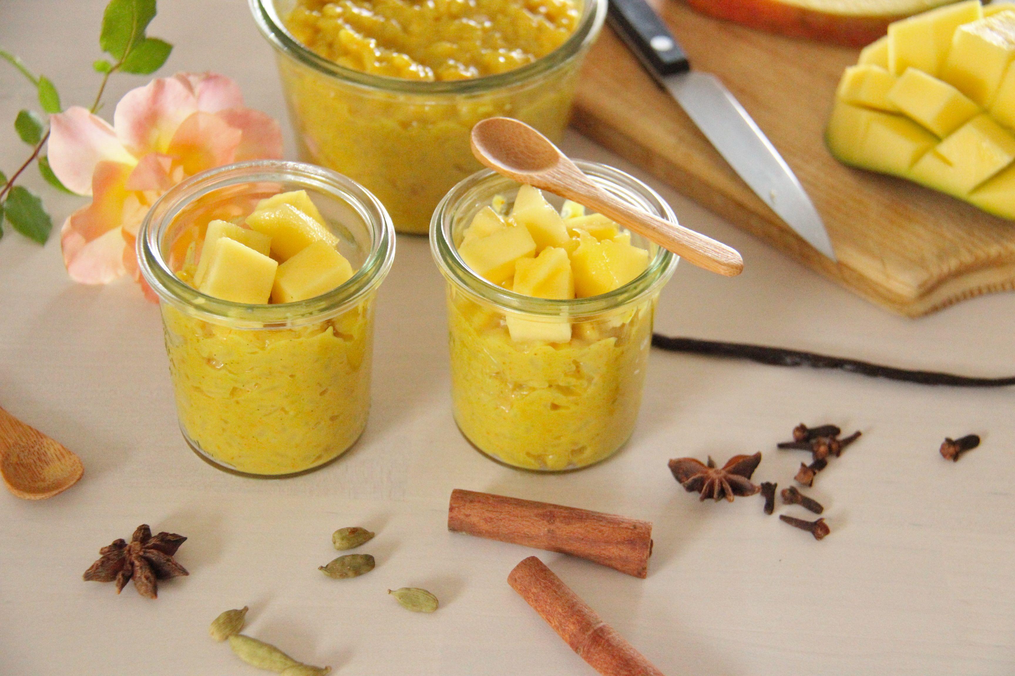 Riz au lait aux épices et mangue fraiche