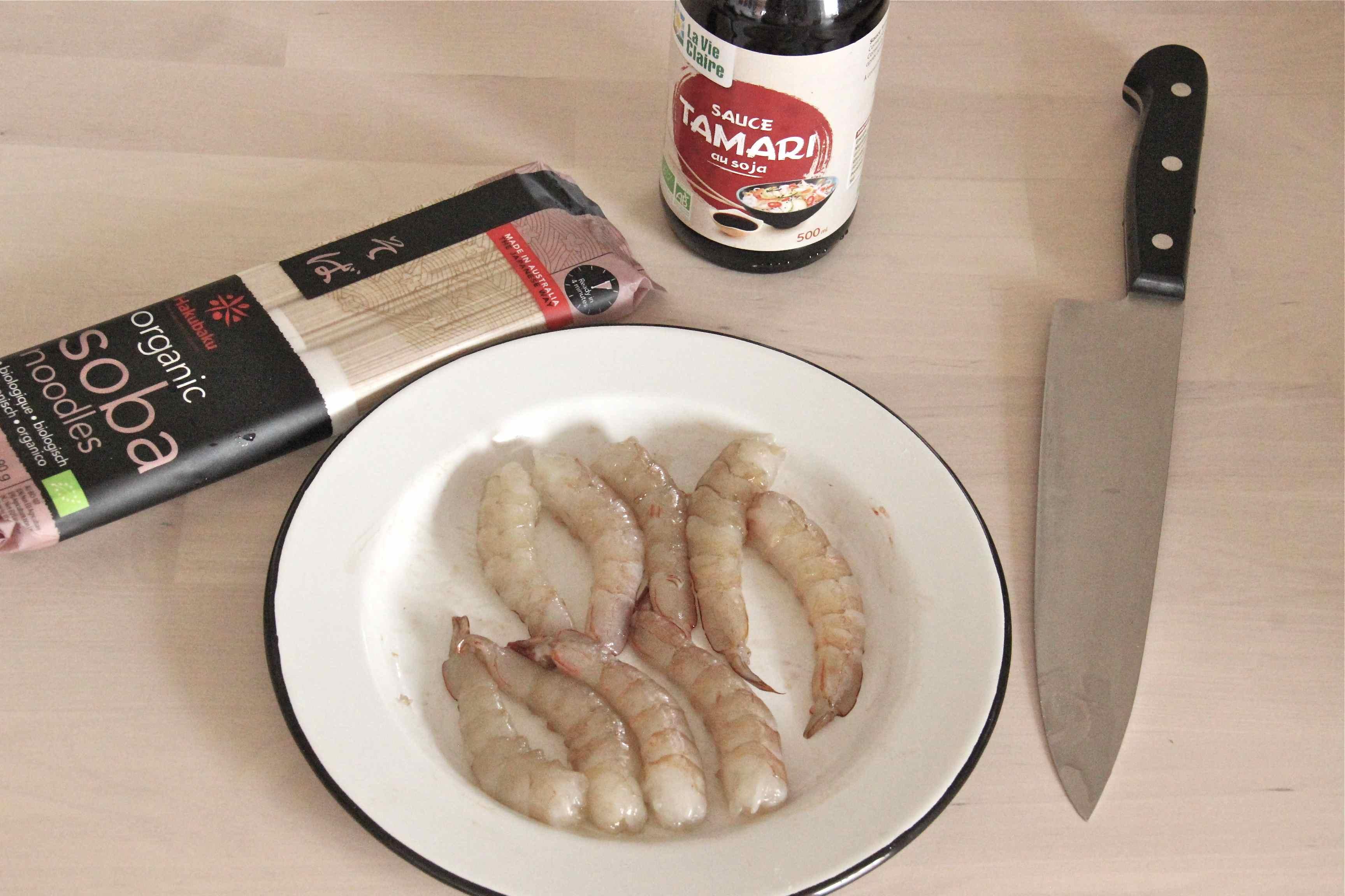 soba crevettes crues et tamari pour one pot pasta