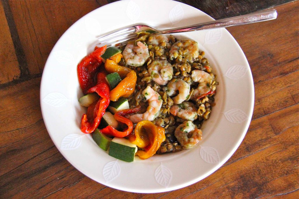 Repas minceur Kitchen Diet Lentilles corail et crevettes